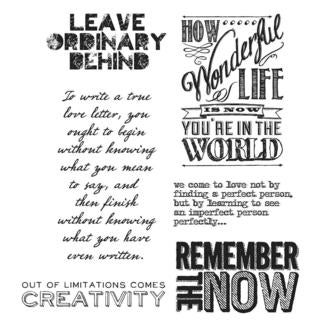 Tim Holtz Cling Rubber Stamp Set 7 X8.5  - Random Quotes