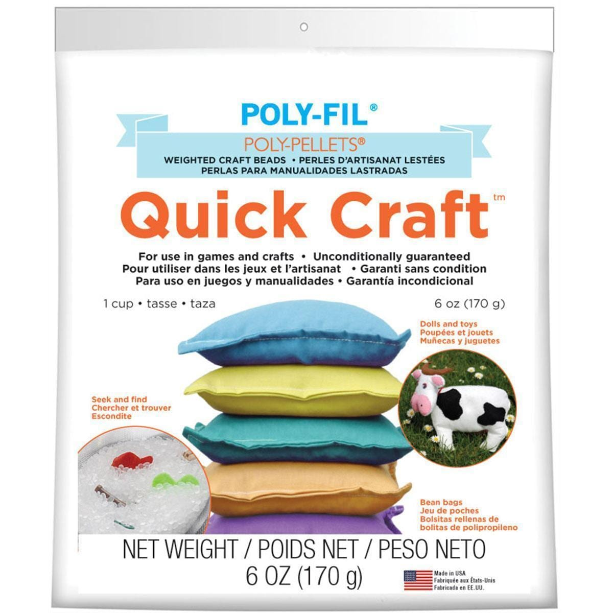 Quick Craft Weighted Poly-Pellets 6oz - White (Beads)