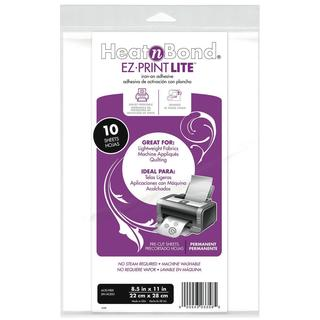 Heat'n Bond EZ-Print Lite Iron-On Adhesive 8-1/2 X11  - White 10/Pkg