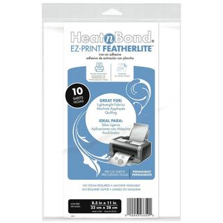 Heat'n Bond EZ-Print Featherlite Iron-On Adhesive 8.5 X11  - White 10/Pkg