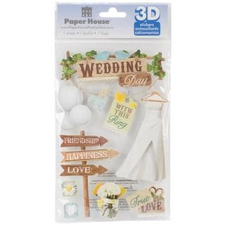 Paper House 3-D Sticker - Wedding