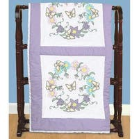 Stamped White Quilt Blocks 18 X18  6/Pkg - Butterfly Wreath