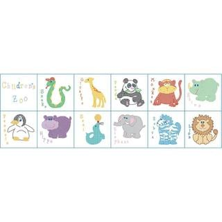 Stamped Cloth Nursery Books 8 X8 12 Pages - Children's Zoo