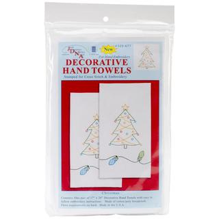 Stamped White Decorative Hand Towel 17 X28 One Pair - Christmas