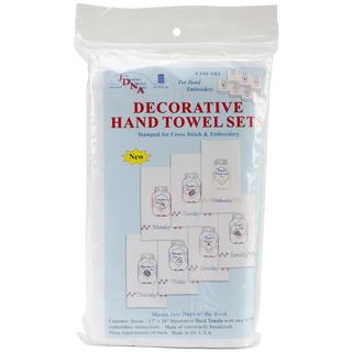 Stamped White Decorative Hand Towels 15 X30 Set Of 7 - Mason Jars Days Of The Week