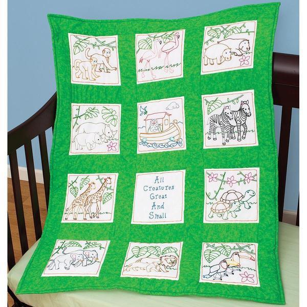 Stamped White Nursery Quilt Blocks 9 X9 12 Pkg Noah S