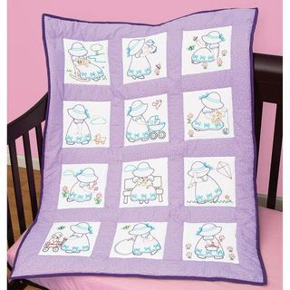 Stamped White Nursery Quilt Blocks 9 X9 12/Pkg - Sunbonnet Sue