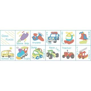 Stamped Cloth Nursery Books 8 X8 12 Pages - Transportation
