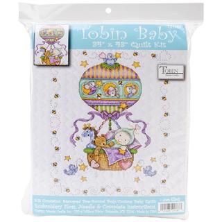 Balloon Ride Baby Quilt Stamped Cross Stitch Kit - 34 X43
