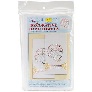Stamped White Decorative Hand Towel 17 X28 One Pair - Thanksgiving