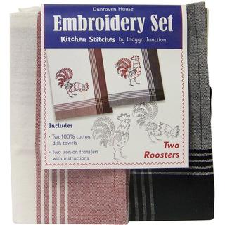Two Roosters Kitchen Stitches Embroidery Set - White W/Red & Black W/Black Stripes