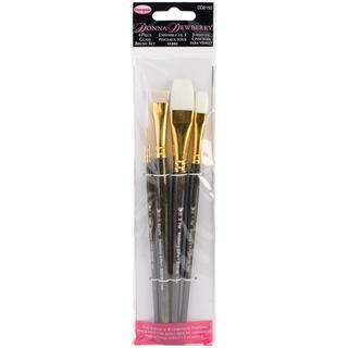 Donna Dewberry Glass Brush Set 4pc - Liner#2,Flat#12,Scruffy1/2 ,Flat3/4