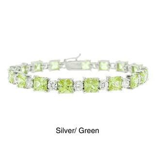 Icz Stonez Silver Princess and Round Colored CZ Bracelet