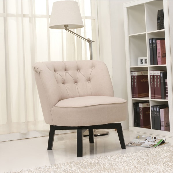 Shop Gold Sparrow Raleigh Beige Swivel Chair Free