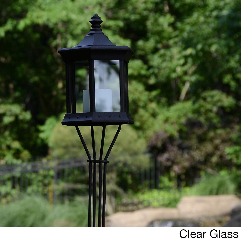 Solar Latern Garden Pole Torch (Clear) (Aluminum)