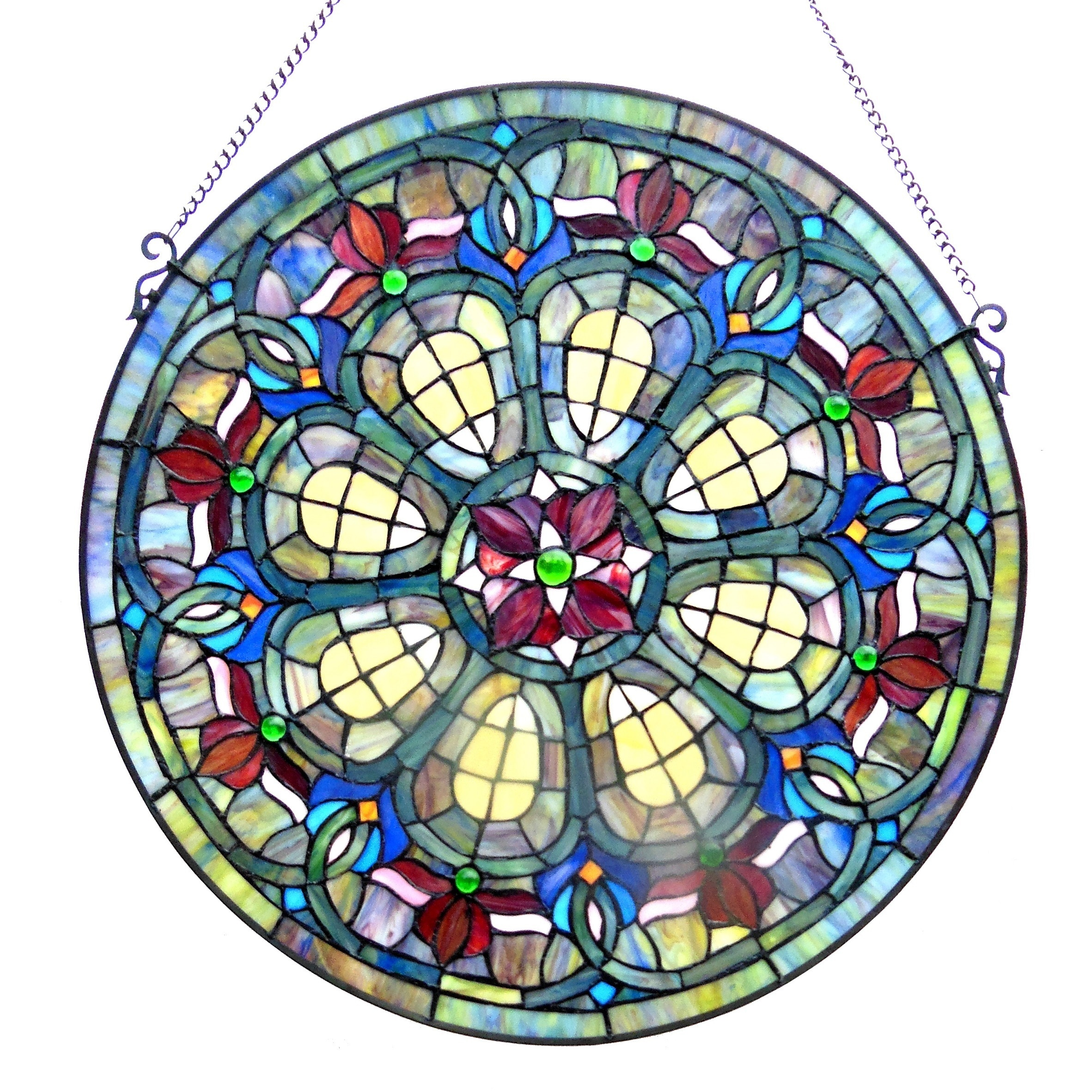 Chloe Tiffany Style Victorian Design Round Window Panel (...
