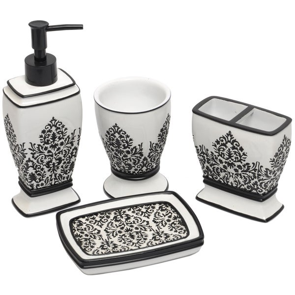 Black white damask bath accessory 4 piece set free for Black and white bathroom sets