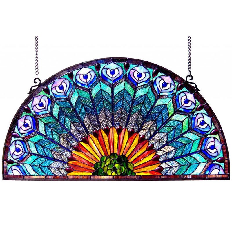 Chloe Peacock Design Half Round Stained Glass Window Pane...