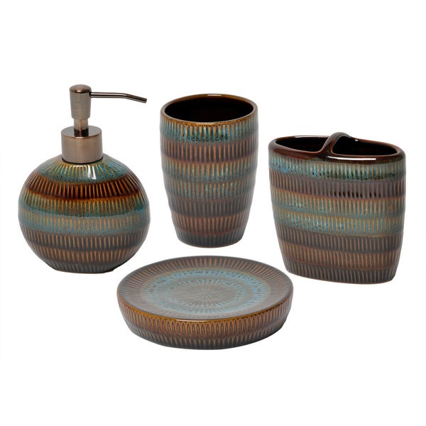 Striped Bathroom Accessories Sets Coastal Stripe Black White