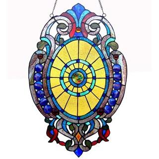 Chloe Tiffany-Style Victorian Design Oval Window Panel