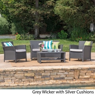Santa Lucia Outdoor 4-piece Brown Wicker Conversation Set with Cushions by Christopher Knight Home (Grey/Silver)