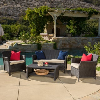 Santa Lucia Outdoor 4-piece Brown Wicker Conversation Set with Cushions by Christopher Knight Home (Option: BLACK/WHITE)