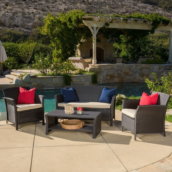 Santa Lucia Outdoor 4-piece Brown Wicker Conversation Set with Cushions by Christopher Knight Home. Opens flyout.