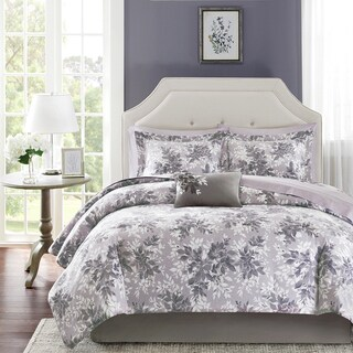 Madison Park Essentials Abbey Grey Complete Comforter and Cotton Sheet Set