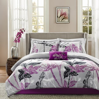 Madison Park Essentials Nicolette Purple Complete Comforter and Cotton Sheet Set