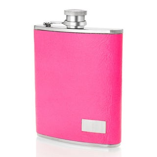 Stainless Steel 6-ounce Pink Neon Italian Leather Sleeve Flask