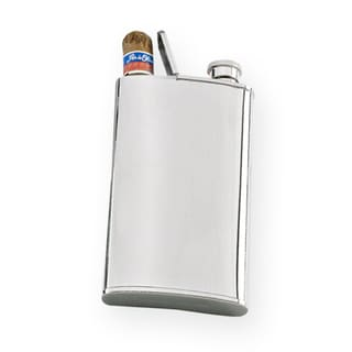 Stainless Steel 4-ounce Flask / Single Cigar Case