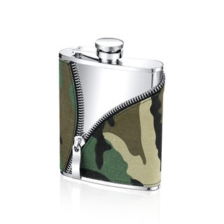 Stainless Steel 6-ounce Camouflage Zipper Sleeve Flask