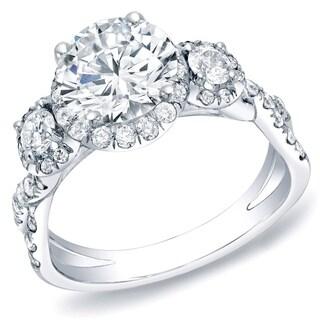 14k Gold 2ct TDW Infinity 3 Stone Diamond Halo Engagement Ring by Auriya