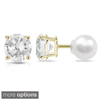 Auriya 14k Gold 3/4ct TDW Reversible Diamond Stud Freshwater Pearl Earrings (6.3 mm)