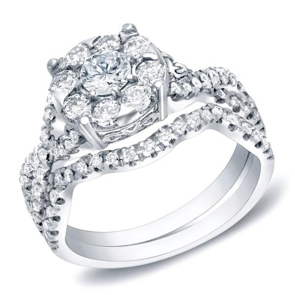 Auriya 14k Gold 1ct TDW Infinity Halo Diamond Engagement Ring Set