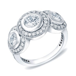 Auriya 14k White Gold 2ct TDW Vintage 3-Stone Bezel-Set Diamond Halo Engagement Ring