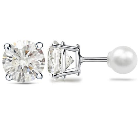 Auriya 1 1/2ctw Reversible Hearts & Arrows Diamond and Pearl Stud Earrings Platinum - White