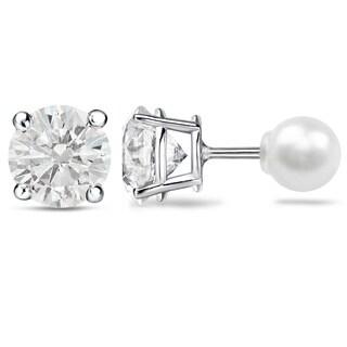 Auriya Platinum 1ct TDW Reversible Hearts and Arrows Diamond Stud FW Pearl Earrings (