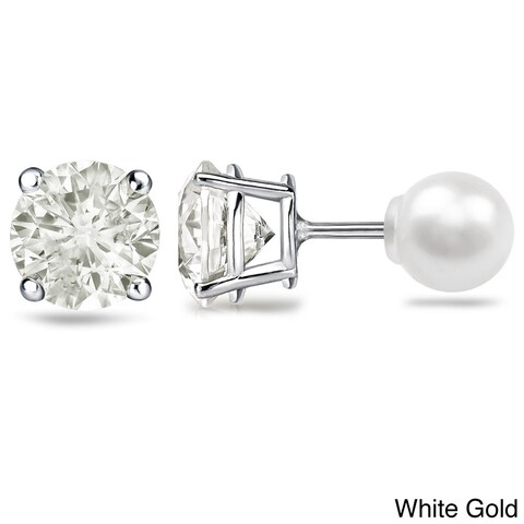 Auriya Platinum 1ct TDW Reversible Round Diamond and Pearl Stud Earrings