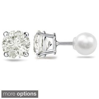 Auriya 1ct TDW Reversible Diamond/Pearl Stud Earrings (J-K, SI1-SI2)