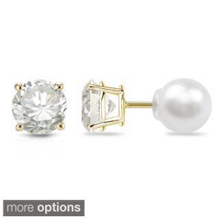 Auriya 14k Gold 1/4ct TDW Reversible Diamond/Pearl Stud Earrings (H-I, VS1-VS2)
