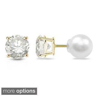 Auriya 14k Gold 1/2ct TDW Reversible Round Diamond and Pearl Stud Earrings