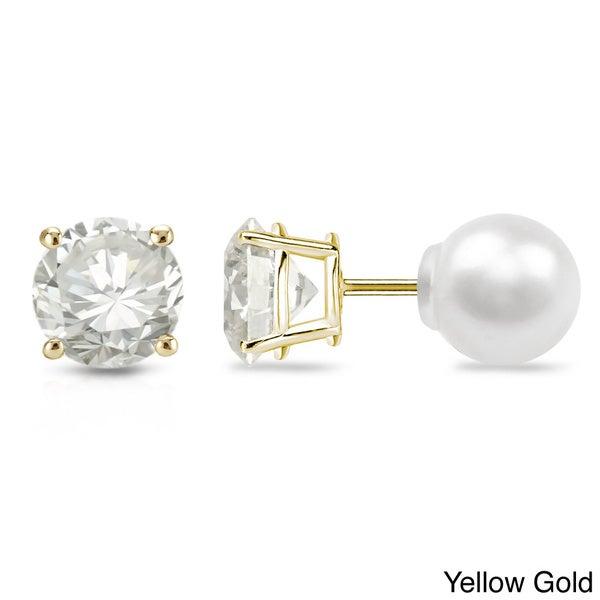 Auriya 14k Gold 1/4ct TDW Reversible Diamond/Pearl Stud Earrings