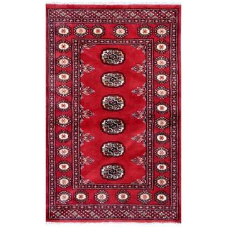 Herat Oriental Pakistani Hand-knotted Bokhara Red/ Ivory Wool Rug (2'6 x 4'1)