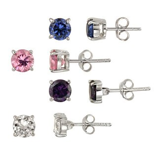 Icz Stonez Sterling Silver Round-cut CZ Stud Earring Set (4 Pair)