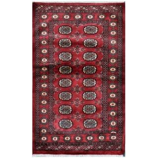 Herat Oriental Pakistani Hand-knotted Bokhara Red/ Ivory Wool Rug (3' x 4'9)