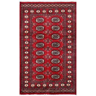 Herat Oriental Pakistani Hand-knotted Bokhara Red/ Ivory Wool Rug (3' x 4'10)