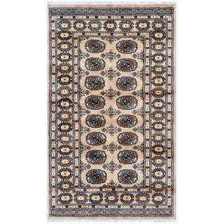 Herat Oriental Pakistani Hand-knotted Bokhara Beige/ Black Wool Rug (3' x 5')