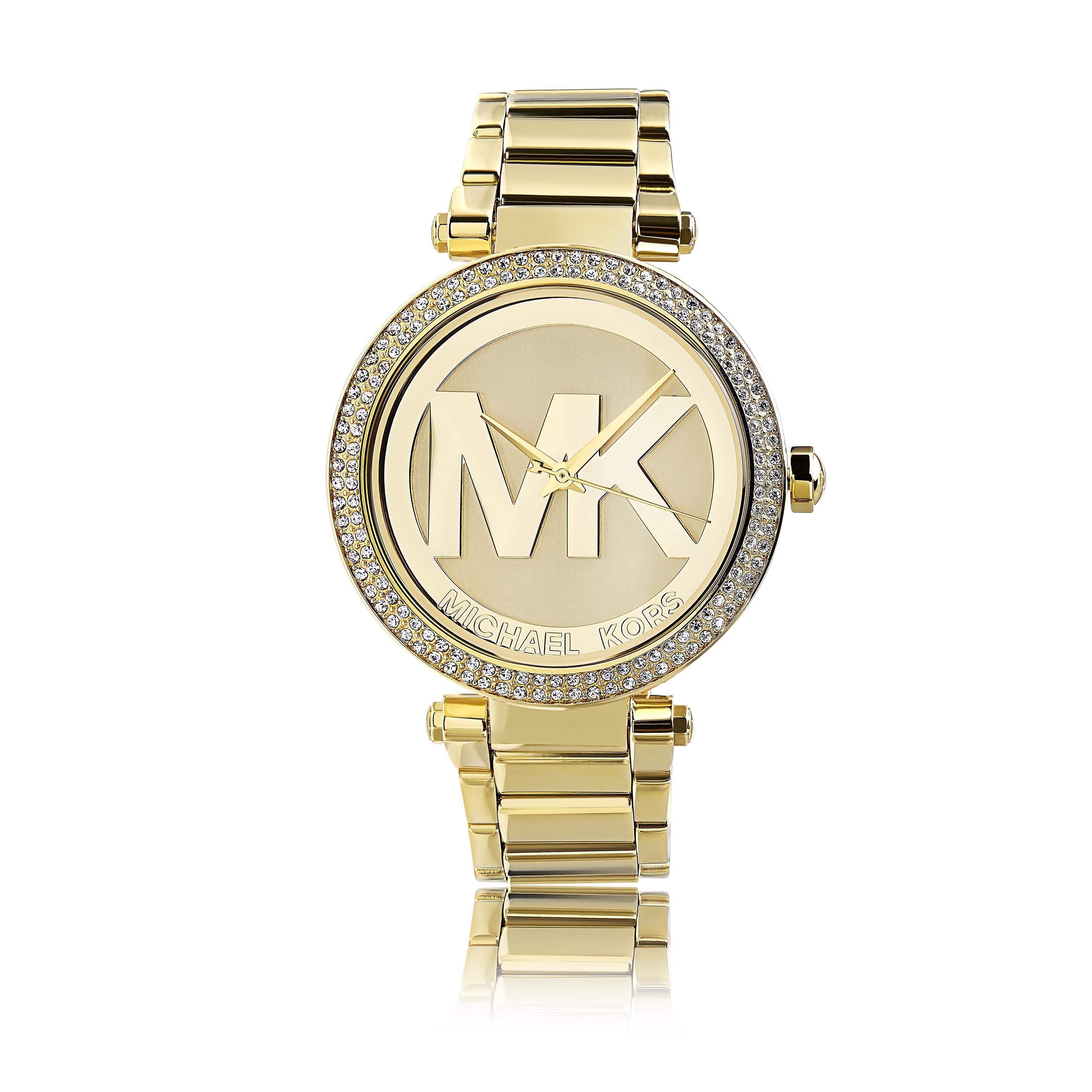 Michael Kors Women's MK5784 'Parker' Goldtone Crystal Accent Watch Gold