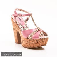Gomax Women's 'Jackie'O 02' Two-tone Cork Wedge Sandals